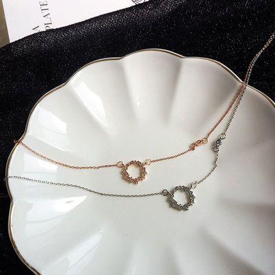 日韩简约清新夏季细款项链创意不对称唯美镶钻颈链气质锁骨链