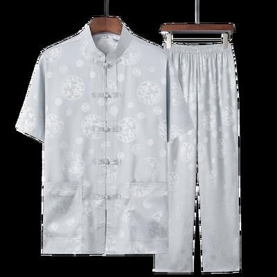 爆款唐装男短袖套装夏季中老年人大码汉服夏装老人衣服60-70-80岁
