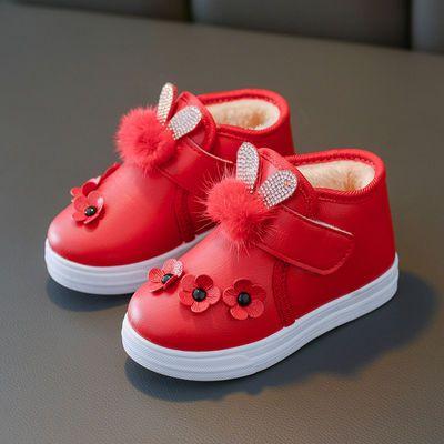 秋冬童鞋女童靴子儿童雪地靴 宝宝棉鞋时装靴 男童短靴皮棉靴防水