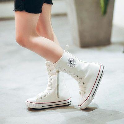 男女孩童高帮帆布鞋儿童春夏天穿6中大童7长高筒靴子9学生板鞋8岁