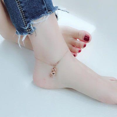 日韩版钛钢镀玫瑰金脚链女不掉色简约葫芦森系气质时尚脚踝足链