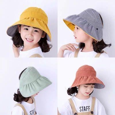 亲子防晒帽双面遮阳帽夏天遮脸户外出游百搭凉帽可折叠空顶太阳帽