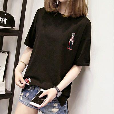 夏季t恤女短袖宽松慵懒白色上衣网红同款韩版体恤潮半袖印花刺绣