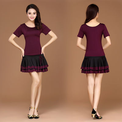 热销广场舞服装夏季新款短袖套装成人拉丁舞练功服跳舞蹈衣服短裙