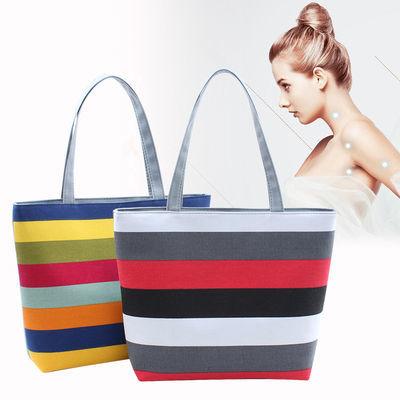 潮流时尚女包帆布包女单肩2020时尚条纹手提学生书包购物袋大包