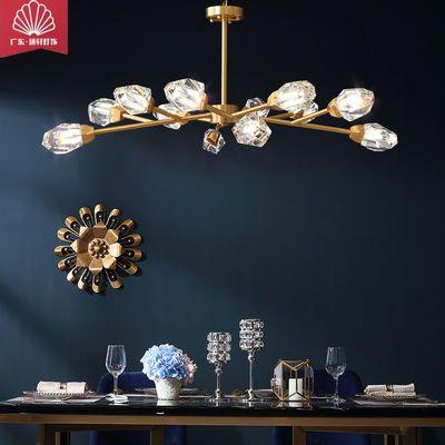 全铜冰菱角水晶吸顶吊B灯客厅餐厅卧室书房过道楼梯成套灯具送LED