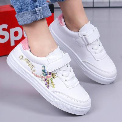 女童休闲鞋春季儿童运动鞋学生小白鞋软底可爱小女孩卡通板鞋