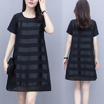 2020夏季新款大码女装黑色条纹中长款宽松遮肚显瘦短袖A字连衣裙