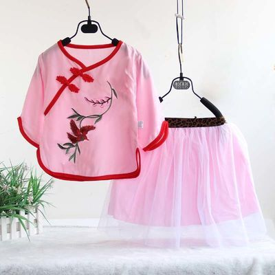 夏季新款儿女童棉绸裙套装唐装人造棉旗袍短裤绵绸民族特色演出服