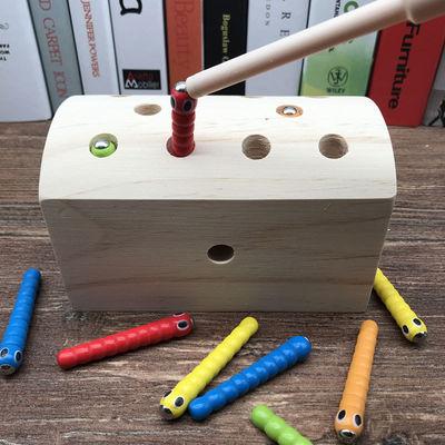 儿童益智早教木制玩具   抓虫游戏配对  厂家直销磁性钓鱼游戏