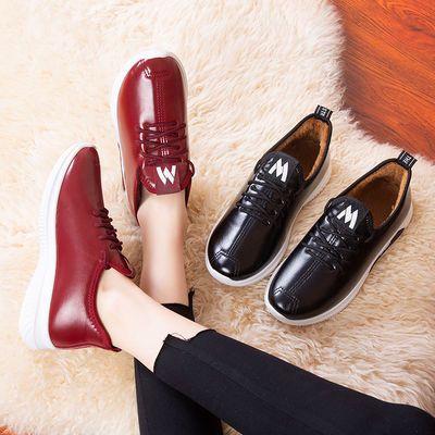2019冬季新款皮鞋防水加绒妈妈鞋平底防滑女士短靴休闲皮面棉靴女