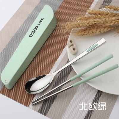 餐具套装学生可爱韩版筷子勺子上班便捷304不锈钢餐具盒旅行2件套