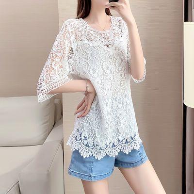 2020夏季新款韩版蕾丝衫重工圆领刺绣白色蕾丝上衣短袖镂空上衣