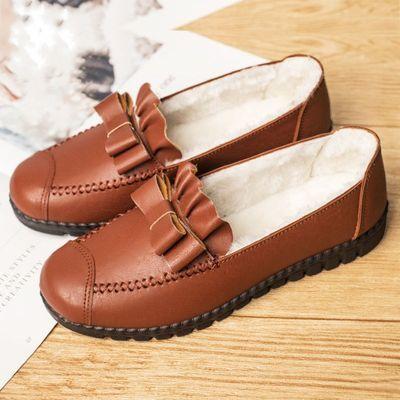新款中老年靴子女冬季妈妈棉鞋平底加绒棉皮鞋防滑短靴女休闲冬靴