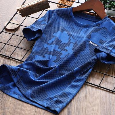 男童迷彩短袖t恤儿童夏装半袖打底衫男孩网眼速干上衣中大童薄款