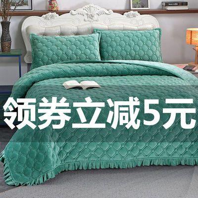 水晶绒床单床盖双面炕单夹棉加厚防滑保暖绒毛毯单双人睡垫盖毯子