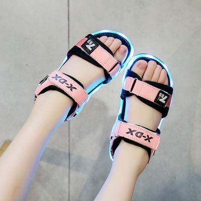 夏季新款儿童发光凉鞋usb充电大中小童软底防滑男女凉鞋亮灯鞋