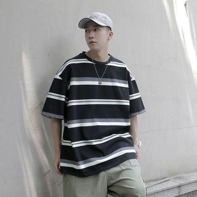 2020夏季新款撞色条纹圆领短袖T恤男士潮牌帅气半截袖宽松体恤衫