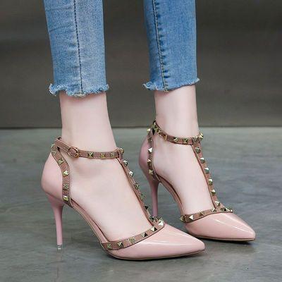 春夏鞋铆钉尖头浅口漆皮婚鞋超高跟细跟单鞋包头红色女凉鞋丁字鞋