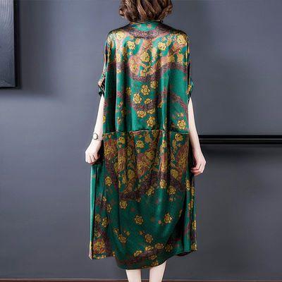 杭州重磅2020新款大码真丝连衣裙女中长款宽松印花蝙蝠袖女装长裙