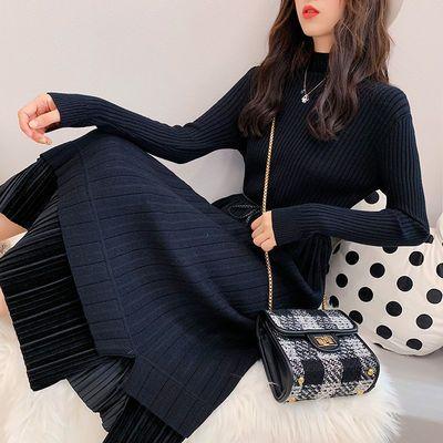 秋冬装蕾丝连衣裙新款大码女装加厚针织衫长款毛衣女长裙过膝裙