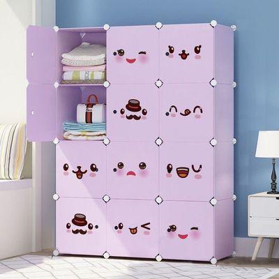 简易衣柜塑料收纳架布推拉门钢管加粗加固单人儿童组装家具实木柜