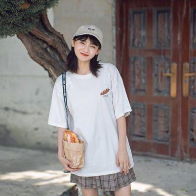 2020夏季T恤女白色短袖宽松tee短袖女学生显瘦落肩bf风日系小清新