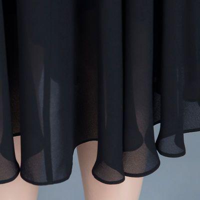 条纹雪纺连衣裙夏季2020夏季新款女装显瘦中长款假两件A字裙子潮