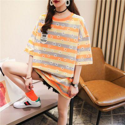 含棉短袖t恤女宽松大码2020夏学生韩版条纹衫ins网红中长款上衣潮