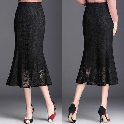 2020新款夏季蕾丝鱼尾裙中长裙半身裙高腰镂空侧拉链微弹后腰松紧