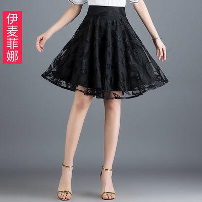 蕾丝bm短裙半身裙女夏2020新款a字裙中长款百褶裙蓬蓬纱ins裙子