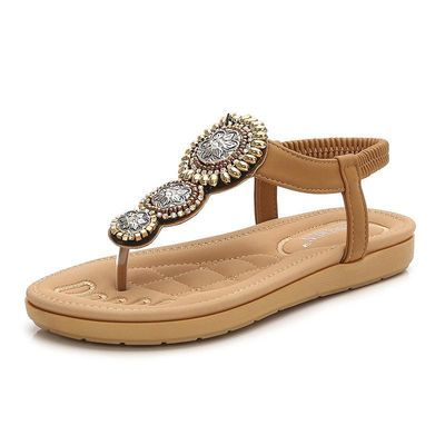 凉鞋新款耐穿海边度假41大码休闲旅游女装休闲女士串珠夹趾沙滩鞋