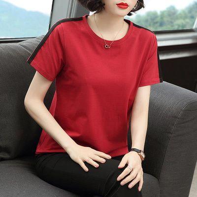 含棉短袖女2020新款韩版女士上衣宽松中年妈妈半袖t恤圆领体恤夏