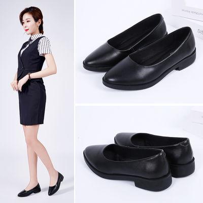 独行者工作鞋女黑色真皮鞋商务女上班鞋子女舒适职业女鞋平底单鞋