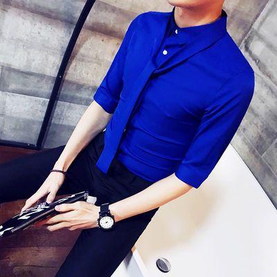 秋装韩版修身男士长袖衬衫纯色宝蓝色衬衣青年发型师工装短袖上衣
