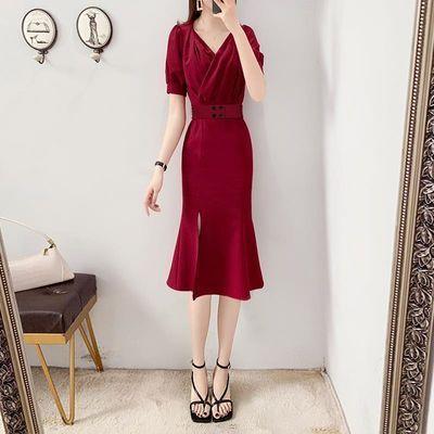 淑女连衣裙2020新款夏季女人味衣服气质女神范鱼尾裙子中长裙显瘦