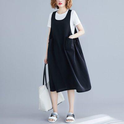 120-250斤大码遮肚子背带裙夏装新款宽松无袖显瘦胖mm背心连衣裙