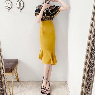 淑女连衣裙2020新款夏装收腰气质女神范衣服端庄大气鱼尾裙子显瘦