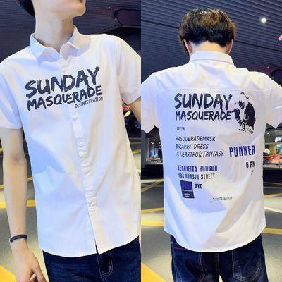 夏季新款男士短袖衬衫韩版修身印花半袖潮流学生青少年男装衬衣