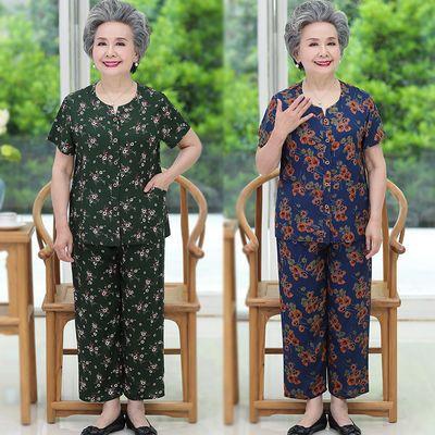 老年人夏装女套装60岁70太太妈妈短袖开衫奶奶装棉绸大码老人衣服