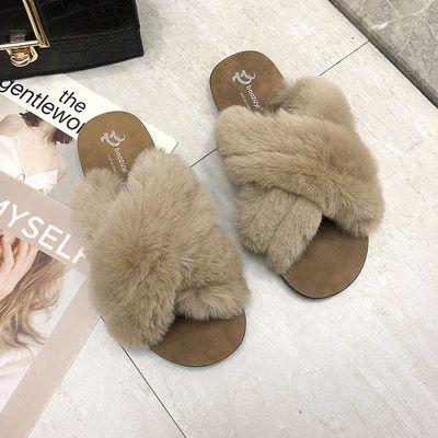 夏季女士外穿百搭交叉兔毛平底防滑凉拖鞋一字毛毛拖鞋