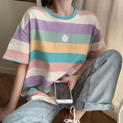 小雏菊条纹t恤女学生韩版宽松纯棉圆领五分袖夏季ins风短袖上衣女
