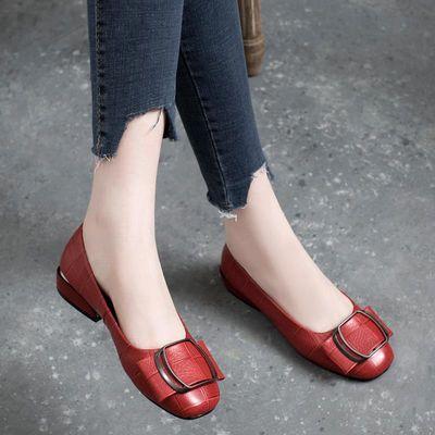 2020新款春季浅口平底单鞋女真皮低跟春款百搭粗跟小皮鞋春秋女鞋