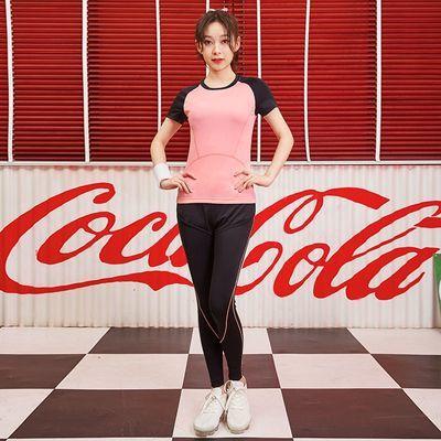 瑜伽服运动套装女夏薄款长裤跑步服显瘦透气短袖背心健身服五件套