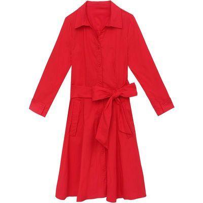 连衣裙女春秋2020春装新款女装韩版时尚长袖中长款气质红色衬衫裙