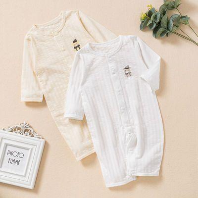 婴儿连体衣夏季长袖两用哈衣新生儿纯棉睡衣宝宝空调服薄款爬爬服