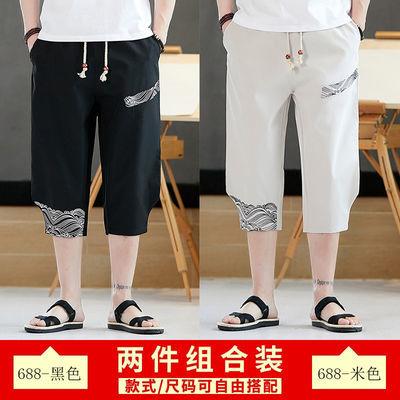 新款两件装/男士七分裤夏季运动休闲短裤刺绣潮流7分裤子宽松百搭