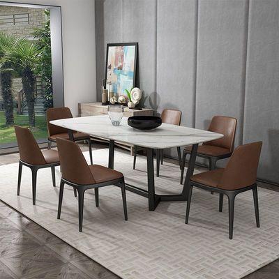 北欧实木餐桌椅组合现代简约小户型大理石餐桌轻奢客厅饭桌子家用