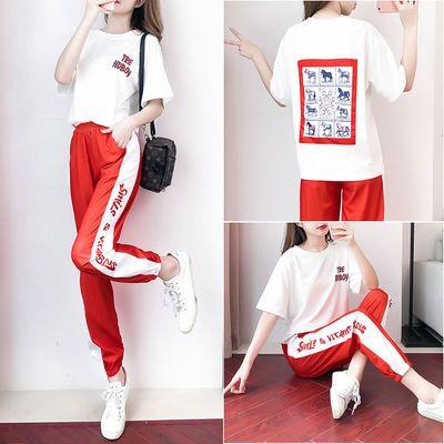 夏季新款时尚套装运动裤两件套女学生韩版宽松休闲服短袖印花T恤