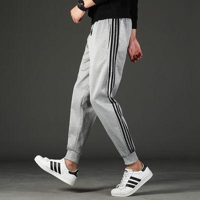 2020新夏季裤子男生休闲宽松跑步运动裤哈伦九分束脚裤男士针织裤